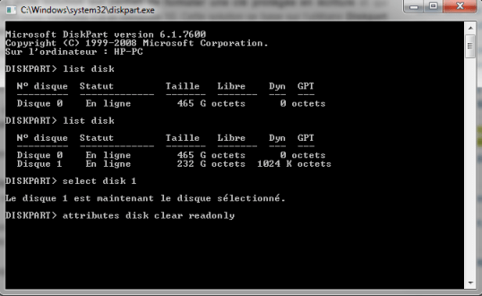 diskpart-formater-cle-protege-écriture