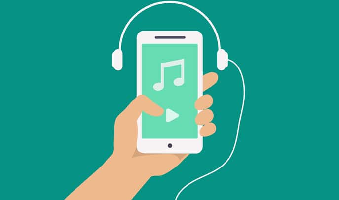 Vector hand and smartphone with music player app